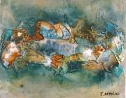 tableau abstrait abstrait bleu turquoise marron : Lueurs