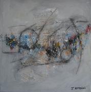 tableau abstrait abstrait noir orange bleu : Déclin 3