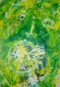 tableau abstrait cri hurle frederic bouillet : Bouche grande ou verte