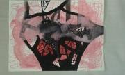 tableau abstrait : rose bonbon