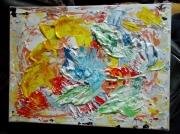 tableau abstrait rose bleue desform peinture acrylique : ROSE BLEUE