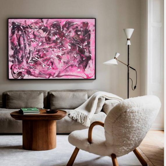 TABLEAU PEINTURE tableau rose peinture abstrait Abstrait  - AU NOM DE LA ROSE