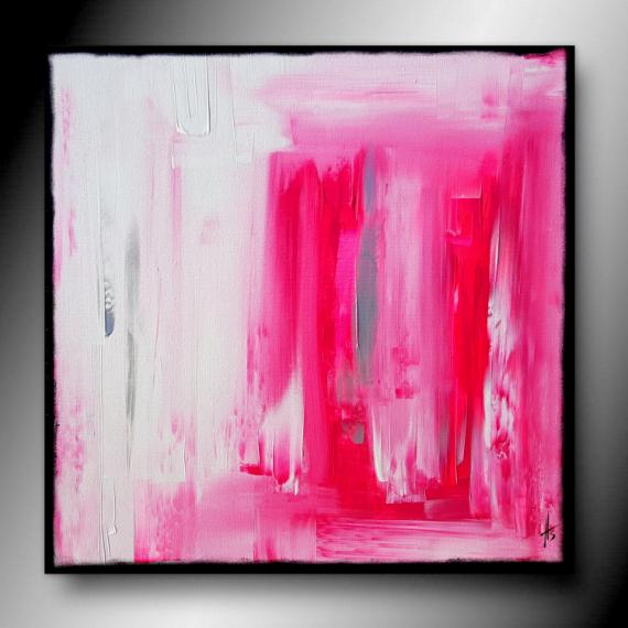 TABLEAU PEINTURE tableau rose abstrait contemporain Abstrait  - ROSY