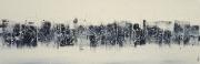 tableau abstrait tableau horizontal peinture main : SKYLINE