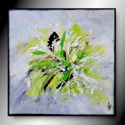 tableau abstrait tableau vert abstrait peinture : INSTANT D'ESPOIR