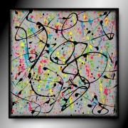 tableau abstrait carre peinture abstrait fait main : PETITE DISTRACTION