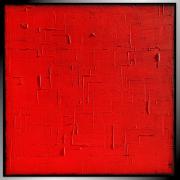 tableau abstrait rouge monochrome tableau peinture : AMOR