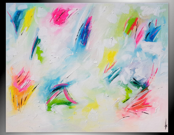 PAINTING tableau horizontal blanc abstrait Abstrait  - SWEETS