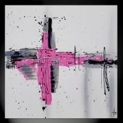 tableau abstrait carre rose abstrait fait main : PINK LADY