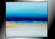 tableau abstrait tableau bleu abstrait horizontal : AU FOND DE LA PISCINE