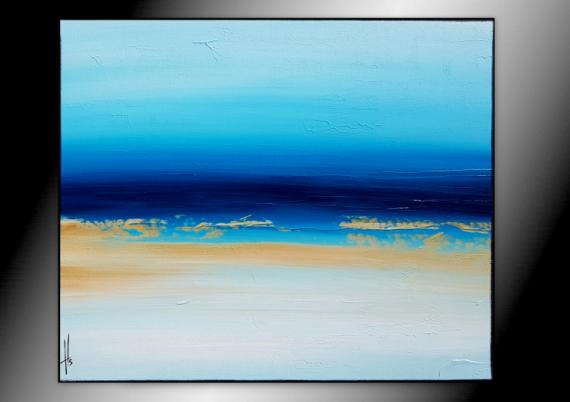 TABLEAU PEINTURE tableau bleu abstrait horizontal Abstrait  - AU FOND DE LA PISCINE