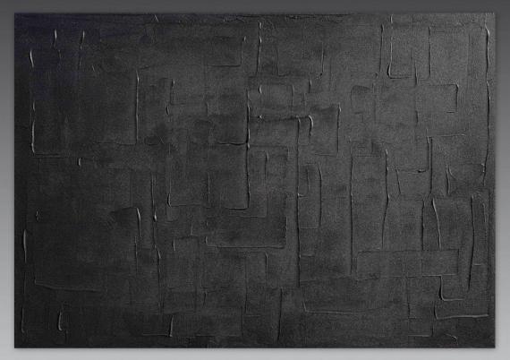 TABLEAU PEINTURE monochrome noir tableau peinture  - NOIR SAUVAGE/VENDU