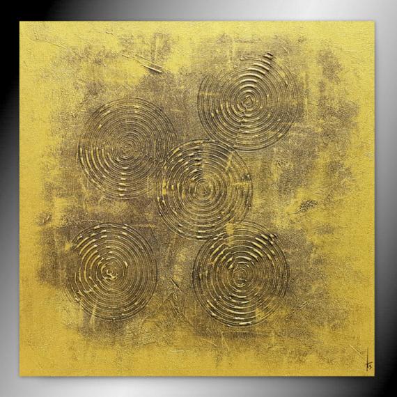 TABLEAU PEINTURE tableau or peinture fait main Abstrait  - LINGOT