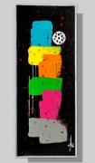 tableau vertical peinture colore fait main : PETITE DOUCEUR 6