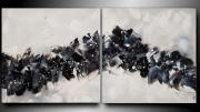 tableau abstrait tableau diptyque peinture blanc : TOMBE LA NEIGE