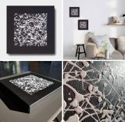 tableau dityque noir contemporain monochrome : diptyque / VENDU