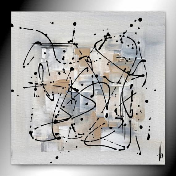 TABLEAU PEINTURE beige tableau abstrait fait main Abstrait  - SEREIN
