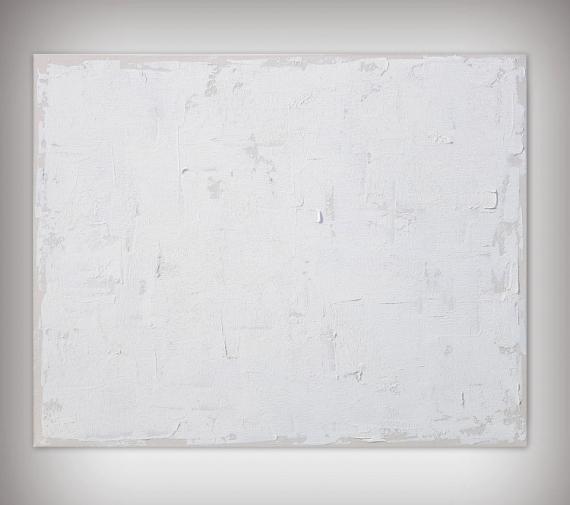 TABLEAU PEINTURE tableau monochrome blanc et beige minimaliste  - E12 / VENDU