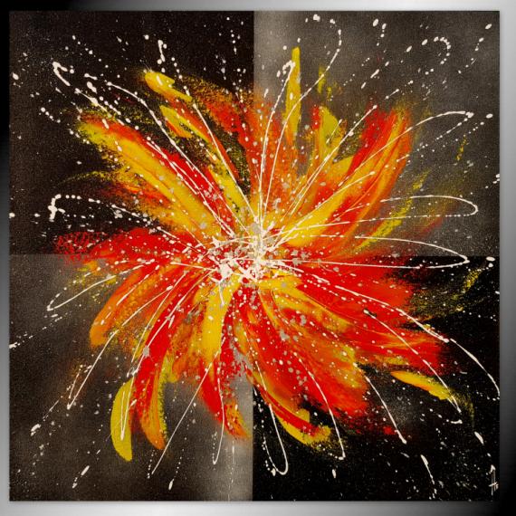 TABLEAU PEINTURE tableau abstrait peinture fait main Abstrait  - Explosion solaire/ VENDU