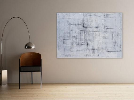 TABLEAU PEINTURE tableau monochrome blanc abstrait Abstrait  - WINTER/ VENDU