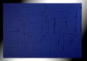 tableau abstrait monochrome bleu tableau peinture : BLEU SAUVAGE