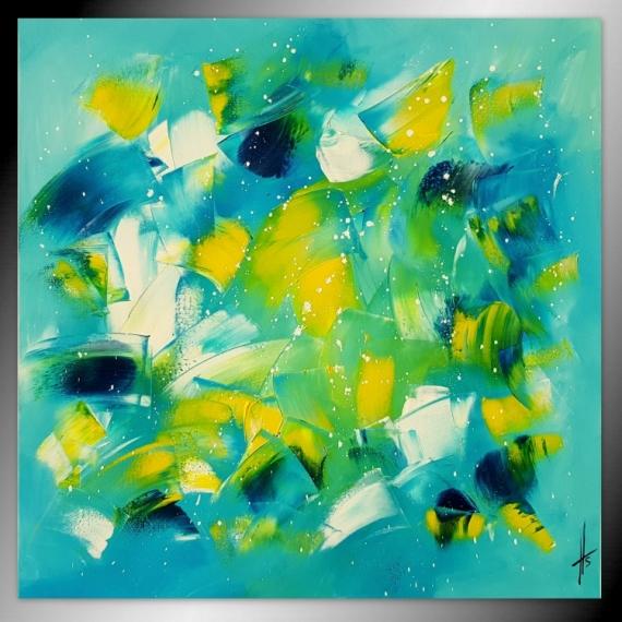 TABLEAU PEINTURE tableau abstrait peinture bleu Abstrait  - MOUVEMENTS DE VIE