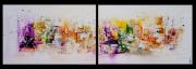 tableau abstrait tableau diptyque peinture abstrait : Destin coloré