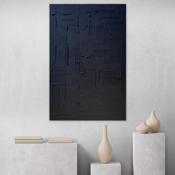 TABLEAU PEINTURE tableau monochrome noir minimaliste Abstrait  - monochrome noir