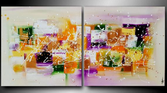 TABLEAU PEINTURE tableau diptyque abstrait peinture Abstrait  - PAULINE