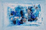 tableau abstrait bleu tableau abstrait peinture : BLEUET