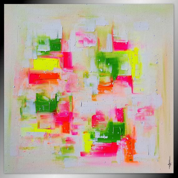TABLEAU PEINTURE tableau abstrait fluo peinture Abstrait Acrylique  - FOLIZ