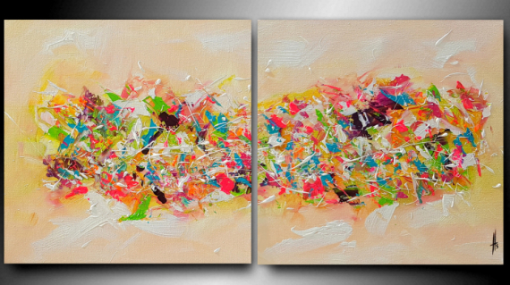 TABLEAU PEINTURE tableau diptyque peinture abstrait Abstrait  - CLIN D'OEIL