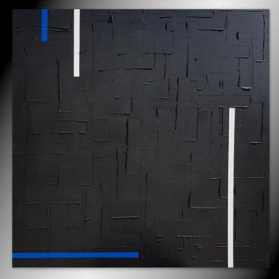 TABLEAU PEINTURE tableau noir monochrome fait main Abstrait  - tableau monochrome noir / VENDU