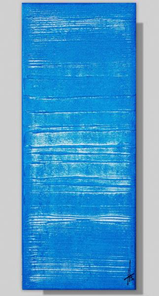 TABLEAU PEINTURE monochrome bleu vertical tableau peinture Abstrait  - OCEAN