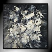 tableau abstrait tableau abstrait noir blanc : CLANDESTIN