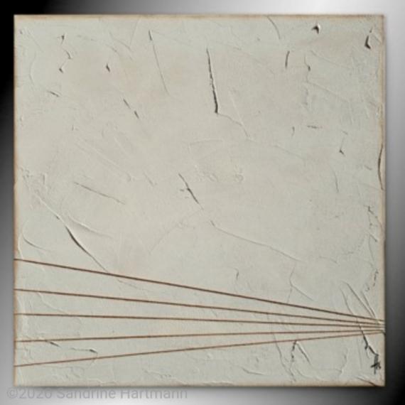 TABLEAU PEINTURE tableau beige clair blanc corde  - BRUT