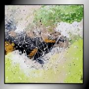 tableau abstrait tableau abstrait vert peinture : PROMENADE IMAGINAIRE