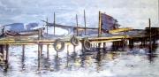tableau paysages rade toulon ponton : Les Pontons