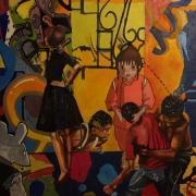 tableau scene de genre collage street art paris figuratif : Serie Gang : Lutte