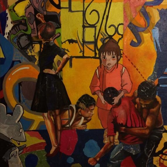 TABLEAU PEINTURE collage street art Paris figuratif Scène de genre Peinture a l'huile  - Serie Gang : Lutte