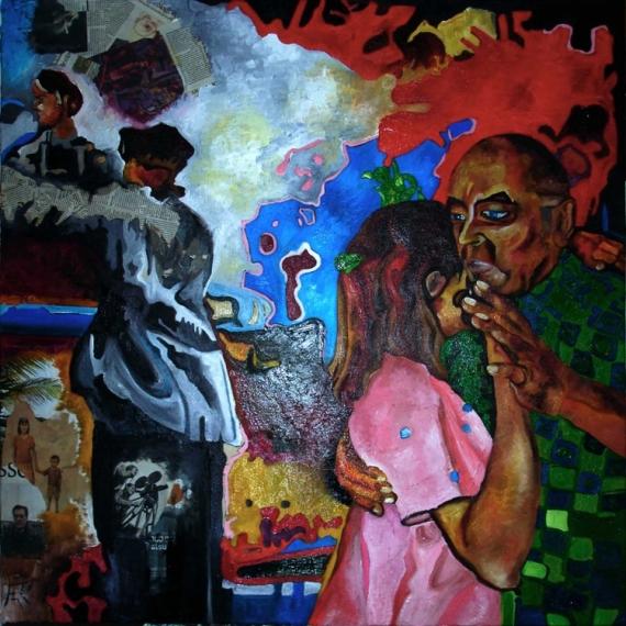 TABLEAU PEINTURE Danse Couple guerre amour Scène de genre Peinture a l'huile  - Danse I