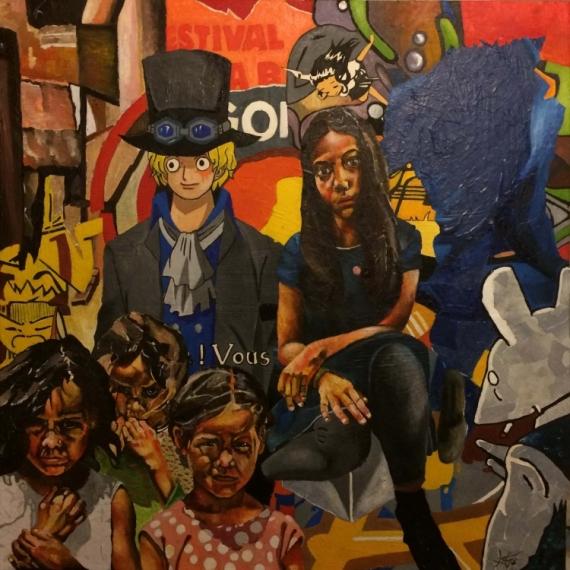 TABLEAU PEINTURE Favelas Collages Personnes Portraits Personnages Peinture a l'huile  - Differences