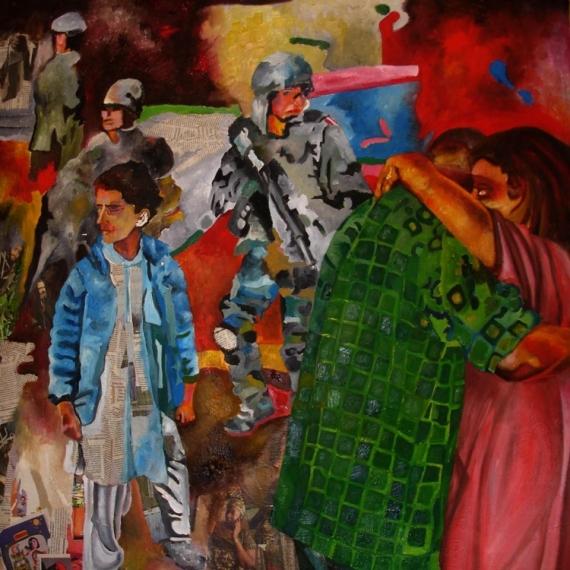 TABLEAU PEINTURE Guerre Enfance Danse Latine Scène de genre Peinture a l'huile  - Danse IV