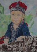 tableau personnages enfant asiatique portrait costume traditionnel : Enfant asiatique