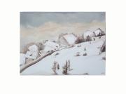 tableau paysages paysage neige peinture aurore boreale : paysage sous la neige