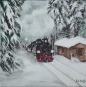 tableau paysages neige train paysage vapeur : Train sous la neige