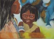 tableau personnages enfant mere du monde portrait : Jivaros