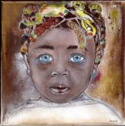 tableau personnages enfant antille portrait peinture : enfant antillaise