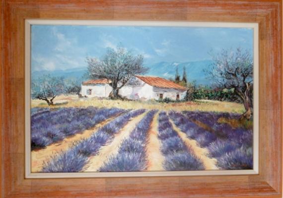 TABLEAU PEINTURE champ lavandes maison Paysages Peinture a l'huile  - Lavandes en Provence 2010