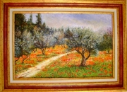 tableau paysages champ oliviers coquelicots : Champ d'oliviers et coquelicots 2012